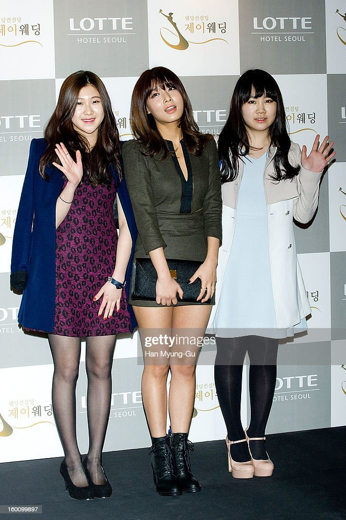South Korean singers Baek Ye-Rin, Kim Yubin of girl group Wonder Girls and Park Ji-Min attend the wedding of Sun of Wonder Girls at Lotte Hotel on January 26, 2013 in Seoul, South Korea.