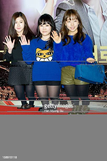 South Korean singers Baek YeRin Park JiMin and Baek AYeon attend the 'My Little Hero' VIP Screening at CGV on January 3 2013 in Seoul South Korea The...