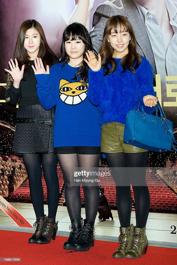 South Korean singers Baek Ye-Rin, Park Ji-Min and Baek A-Yeon attend the 'My Little Hero' VIP Screening at CGV on January 3, 2013 in Seoul, South Korea. The film will open on January 09 in South Korea.