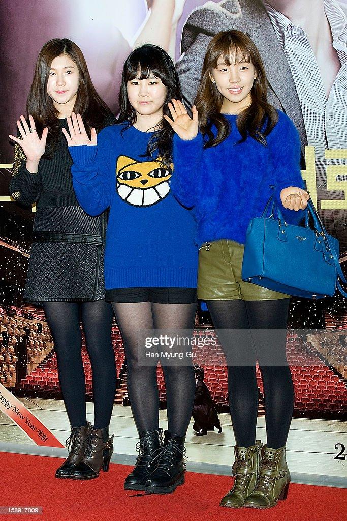 South Korean singers Baek Ye-Rin, Park Ji-Min and Baek A-Yeon attend the 'My Little Hero' VIP Screening at CGV on January 3, 2013 in Seoul, South Korea. The film will open on January 09 in South Korea.