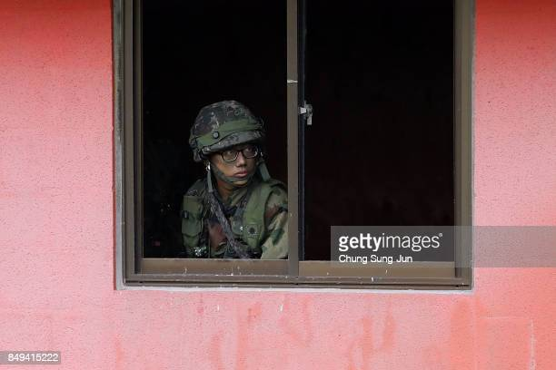 South Korean soldider from 26th infantry division take part during the Warrior Strike VIII exercise at the Rodriguez Range on September 19 2017 in...