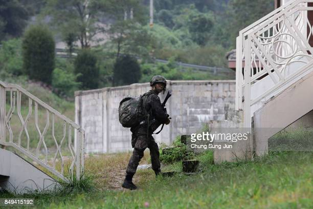 South Korean soldier during the Warrior Strike VIII exercise at the Rodriguez Range on September 19 2017 in Pocheon South Korea The United States 2ID...
