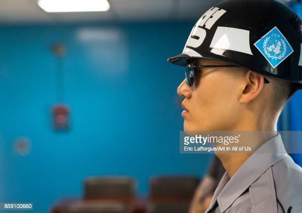 South Korean soldier in the joint security area on the border between the two Koreas North Hwanghae Province Panmunjom South Korea on September 8...