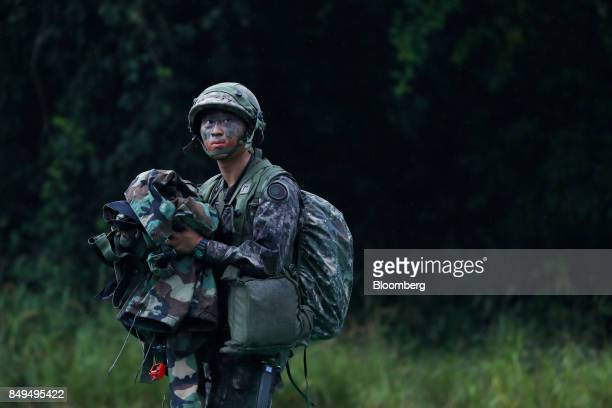 A South Korean soldier looks on during Warrior Strike VIII a bilateral training exercise between the US Army's 2nd Armored Brigade Combat Team 1st...