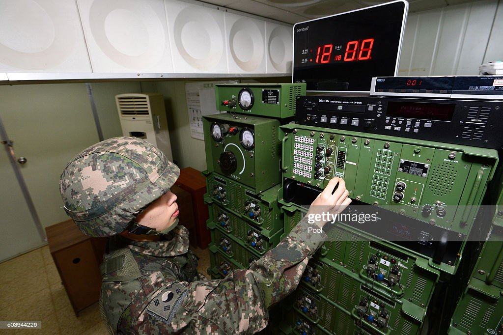 South Korean soldier operates the loudspeakers at a studio near the border between South Korea and North Korea on January 8 2016 in Yeoncheon South...