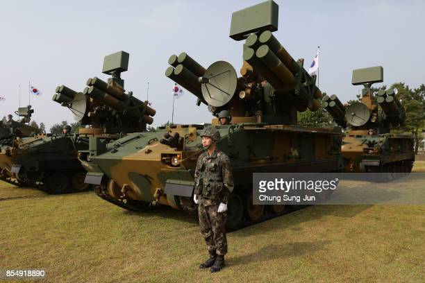 South Korean soldiers attend the media day of the 65th South Korea Armed Forces Day ceremony on September 25 2017 in Pyeongteak South Korea The...