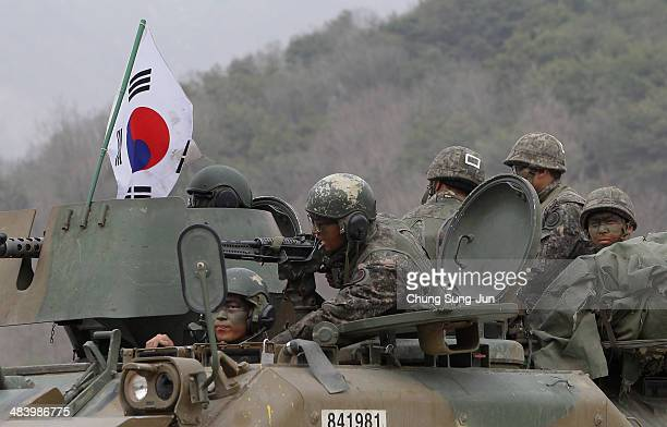South Korean soldiers from 26th Infantry division attend the United States and South Korean Joint live fire Exercise at Rodriguez Range on April 11...