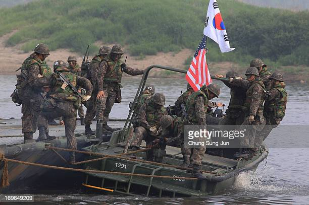 South Korean soldiers from 6th Engineer Brigade participate in a river crossing exercise on May 30 2013 in Yeoncheongun South Korea The joint...