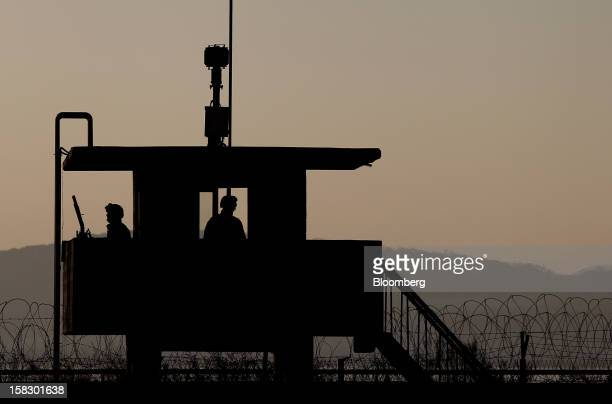 South Korean soldiers guard a post near the demilitarized zone in Paju South Korea on Wednesday Dec 12 2012 North Korea fired a rocket that placed a...