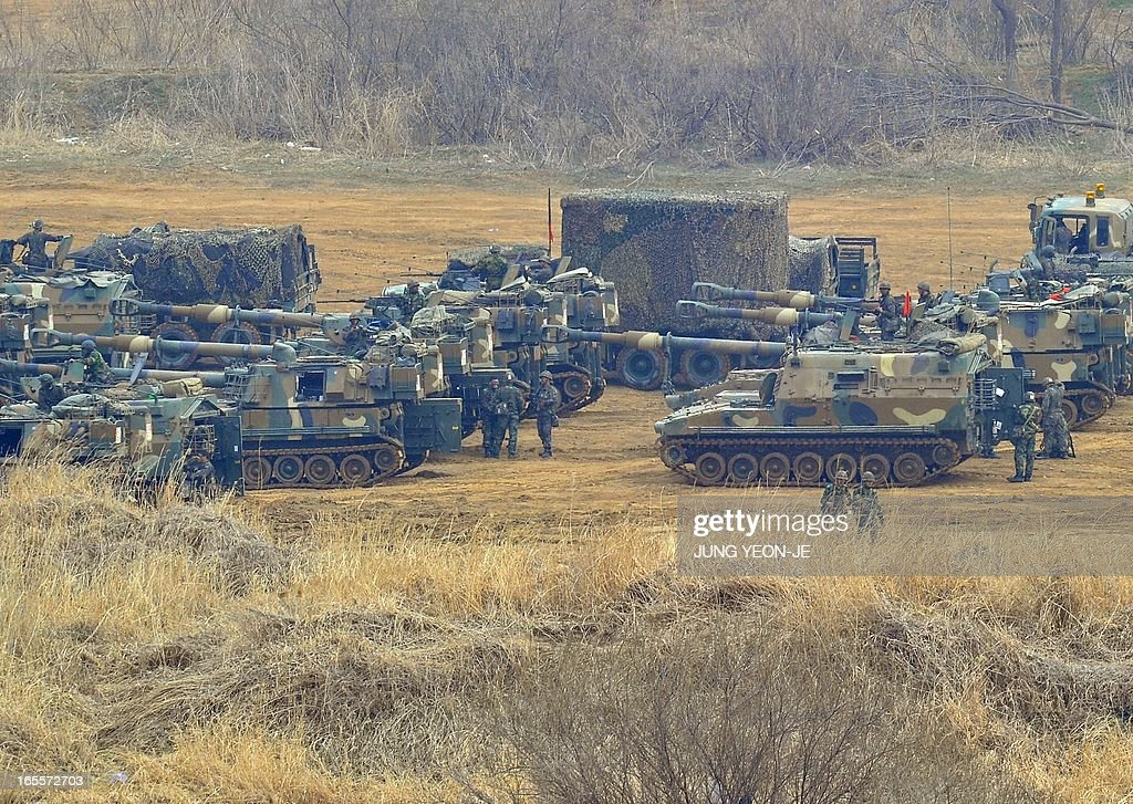 South Korean soldiers man K-55 self-propelled howitzers at a military training field in the border city of Paju on April 5, 2013. The United States said it was taking 'all necessary precautions' after North Korea rang fresh alarms in an escalating crisis by moving a medium-range missile to its east coast.