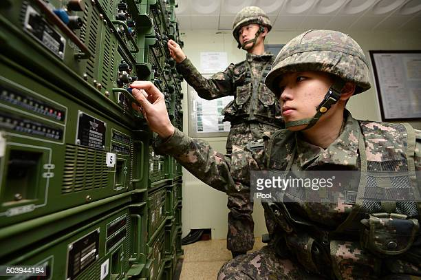 South Korean soldiers operate the loudspeakers at a studio near the border between South Korea and North Korea on January 8 2016 in Yeoncheon South...
