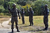 South Korean soldiers prepare for a demonstration of search operations at a training field in Cheorwon near the Demilitarized Zone dividing the two...