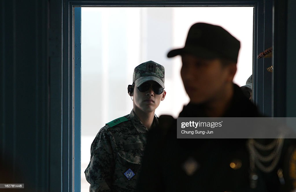 South Korean soldiers stand guard at the border village of Panmunjom between South and North Korea at the Demilitarized Zone (DMZ) on February 27, 2013 in South Korea. North Korea confirmed it had successfully carried out an underground nuclear test on February 12, as a shallow earthquake with a magnitude of 4.9 was detected by several international monitoring agencies.