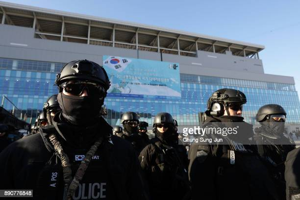 South Korean special police participate in an antiterror drill at the Olympic Staduim venue of the Opening and Closing ceremony on December 12 2017...