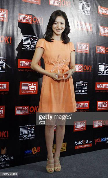 South Korean star Song Hye Kyo attends the 2009 China Fashion Awards on June 6 2009 in Beijing China