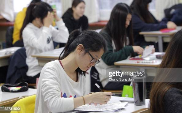 South Korean students take their College Scholastic Ability Test at a school on November 8 2012 in Seoul South Korea More than 660000 high school...