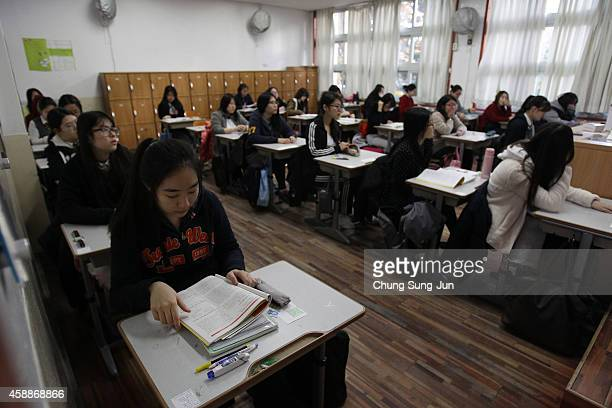 South Korean students take their College Scholastic Ability Test at a school on November 13 2014 in Seoul South Korea More than 640000 high school...