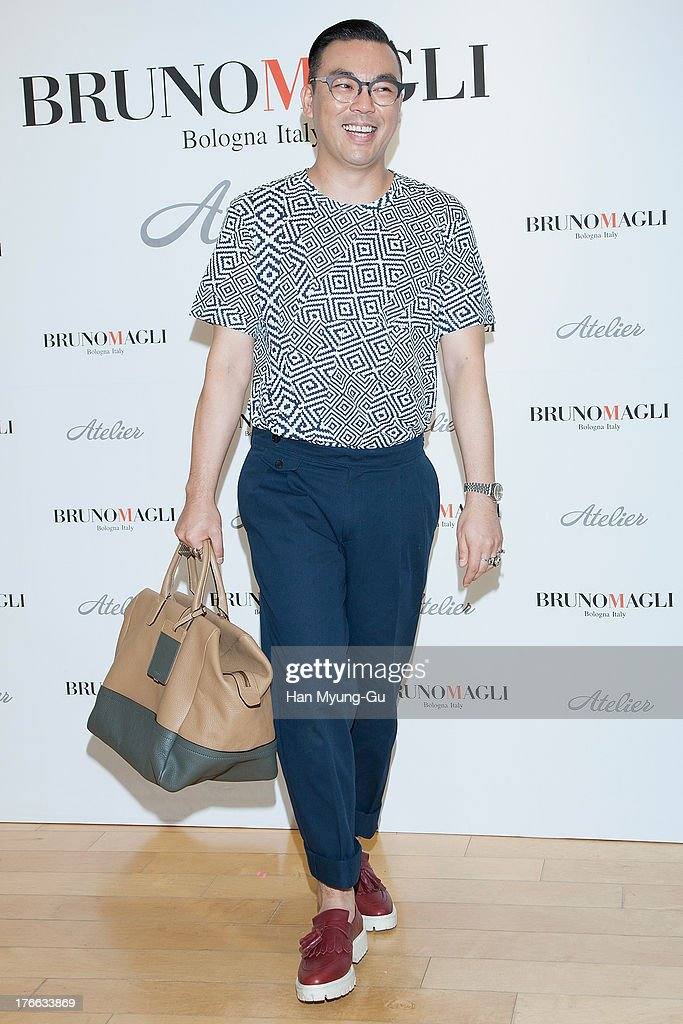 South Korean stylist Chae Han-Suk attends during the 'Bruno Magli' atelier store grand opening in Seoul on August 16, 2013 in Seoul, South Korea.