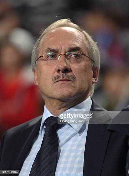 South Korean team coach Ulrich Stielike attends during the international friendly match between South Korea and Costa Rica at Seoul World Cup Stadium...