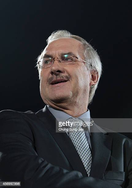 South Korean team head coach Uli Stielike talks attends the international friendly match between South Korea and Paraguay at Cheonan Sports Complex...