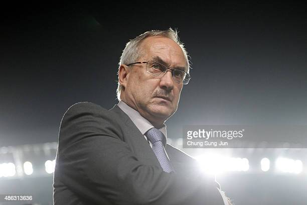 South Korean team head coach Ulrich Stielike during the 2018 FIFA World Cup Qualifier Round 2 Group G match between South Korea and Laos at Hwaseong...