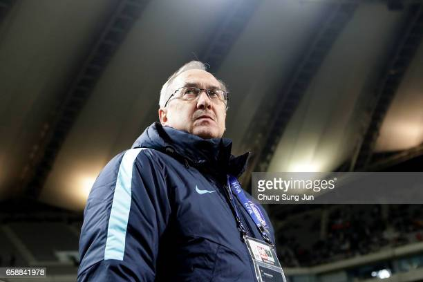 South Korean team head coach Ulrich Stielike during the FIFA World Cup Qualification AFC Final Group Stage match between South Korea and Syria at...