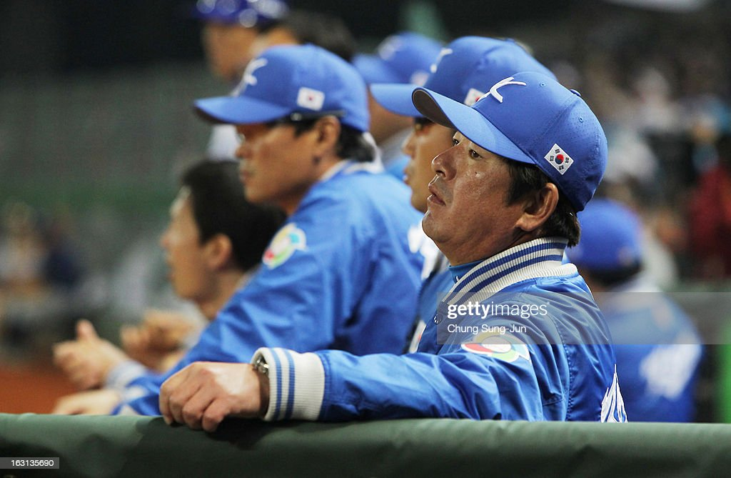 South Korean team manager Ryu Joong-Il reacts in the seventh inning during the World Baseball Classic First Round Group B match between Chinese Taipei and South Korea at Intercontinental Baseball Stadium on March 5, 2013 in Taichung, Taiwan.
