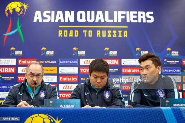 South Korean team manager Uli Stielike and defender Jang Hyunsoo attend a press conference before the 2018 FIFA World Cup Qualifiers match against...
