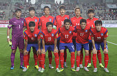 South Korean team pose during the 2018 FIFA World Cup Qualifier Round 2 Group G match between South Korea and Laos at Hwaseong on September 3 2015 in...