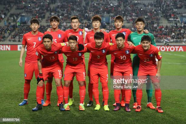 South Korean team pose during the FIFA World Cup Qualification AFC Final Group Stage match between South Korea and Syria at Seoul World Cup Stadium...