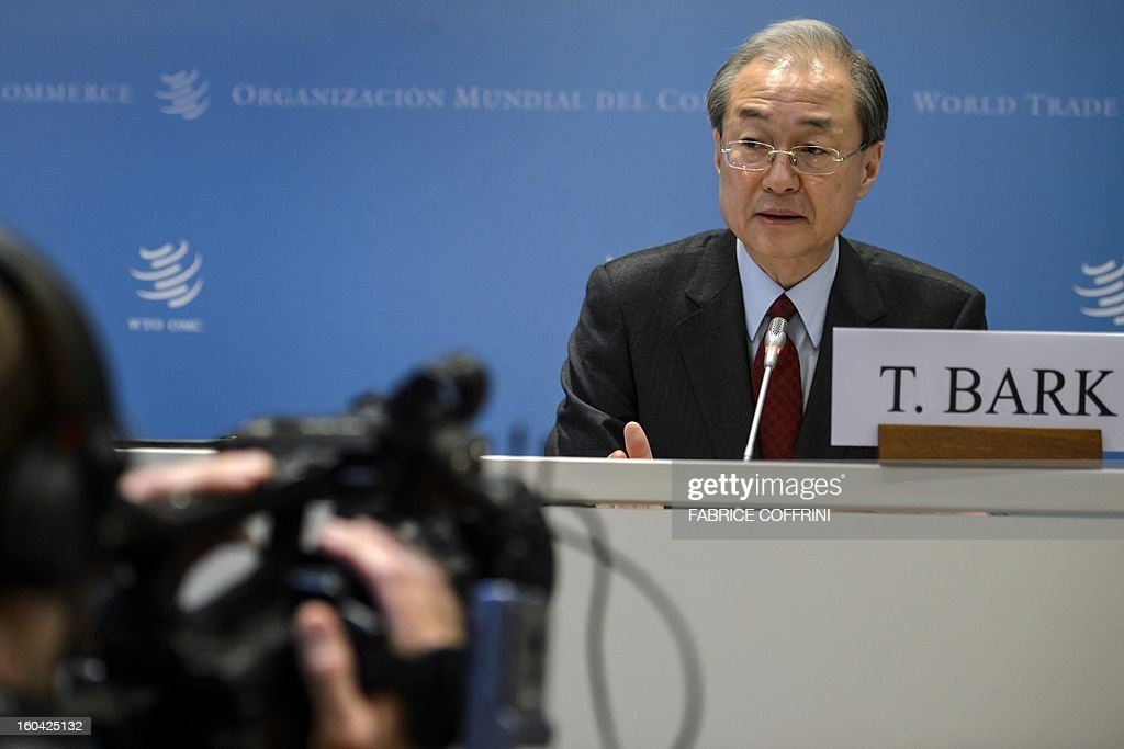 South Korean Trade minister Bark Taeho speaks during a press confrence following his earing on his bid to become the new World Trade Organization (WTO) general director on January 31, 2013 at the World Trade Organization (WTO) headquarters in Geneva. WTO is interviewing nine candidates to replace Pascal Lamy as director general. The WTO's 158 member countries is to make its decision known by May 31.