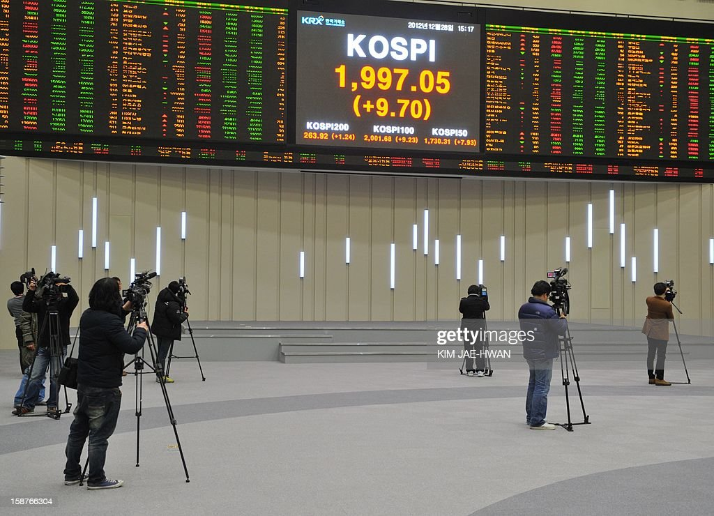South Korean TV crew film an electronic board showing the closing prices of shares on the final day of the 2012 trading year in Seoul on December 28, 2012. The benchmark KOSPI index closed the year at 1,997.05, up 9.4 percent from a year ago, despite a global economic slowdown.