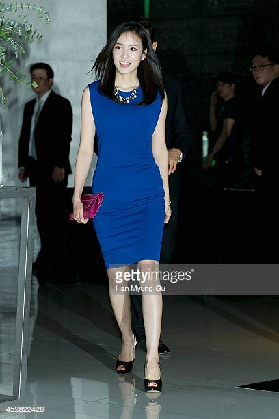 South Korean tv personality Jang YeWon attends the wedding for Park JiSung and Kim Minji at W Hotel on July 27 2014 in Seoul South Korea