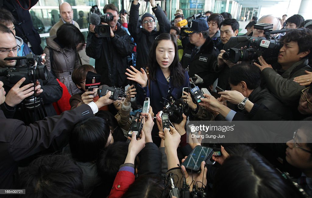 A South Korean worker Kwon Suk-Mi, arriving from the Kaesong Kaesong joint industrial complex in North Korea, is speaks to reporters at the inter-Korean transit office on April 4, 2013 in Paju, South Korea. 400 South Koreans remain in the joint industrial complex fearing they can not get back there once return to South. In recent weeks North Korea have threatened to attack South Korea and U.S. military bases.