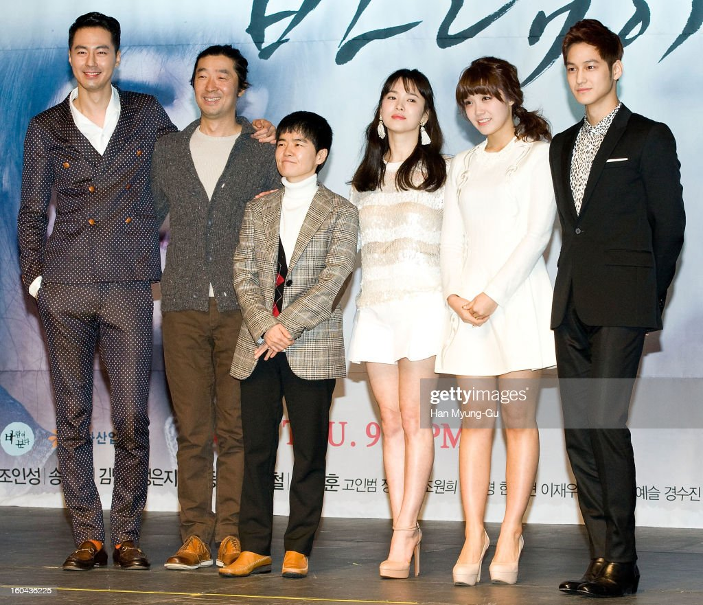 South Korean writer Noh Hee-Kyung, producer Kim Kyu-Tae, actors Zo In-Sung, <a gi-track='captionPersonalityLinkClicked' href=/galleries/search?phrase=Song+Hye-Kyo&family=editorial&specificpeople=4238502 ng-click='$event.stopPropagation()'>Song Hye-Kyo</a>, Jeong Eun-Ji (Jung Eun-Ji) and Kim Beom attend the SBS Drama 'Baramibunda' press conference at Blue Square Samsung Card Hall on January 31, 2013 in Seoul, South Korea. The drama will open on February 13 in South Korea.