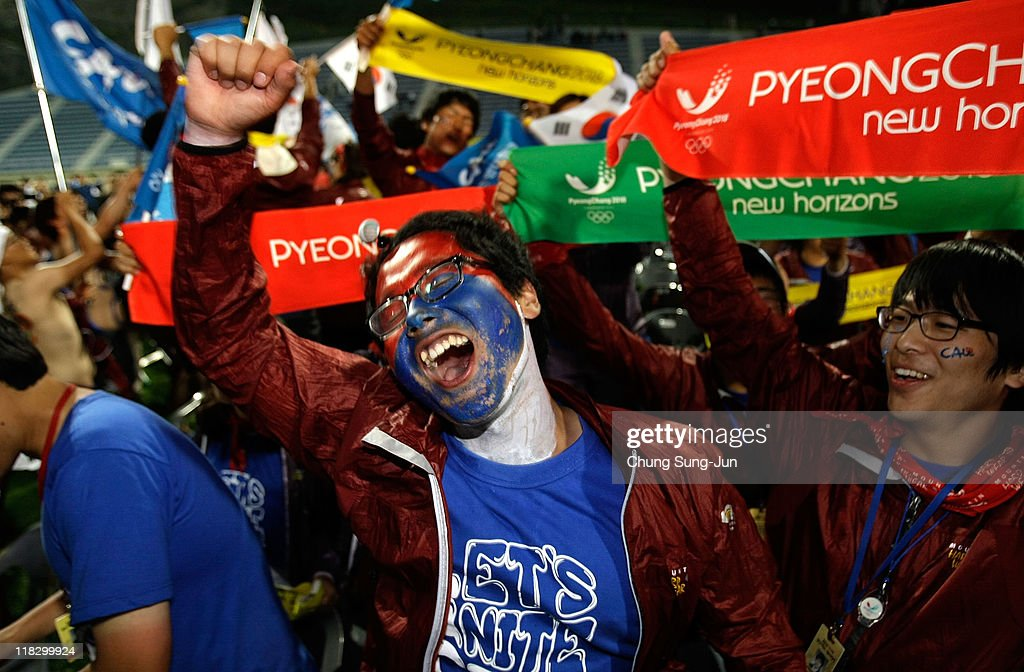 South Koreans celebrate being selected as 2018 Winter Olympic host city at Alpensia Resort on July 7 2011 in Pyeongchang South Korea Pyeongchang...
