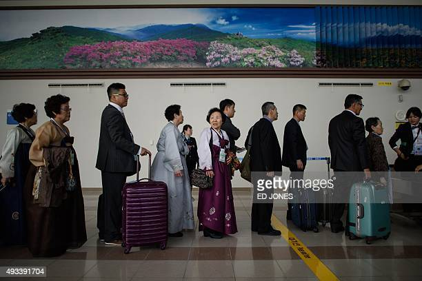 South Koreans chosen to attend a family reunion event with North Korean relatives waits to clear the Customs Inspection and Quarantine checkpoint...