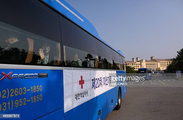 South Koreans chosen to attend a family reunion event with their North Korean relatives leave their hotel in Sokcho on the East side of the South...