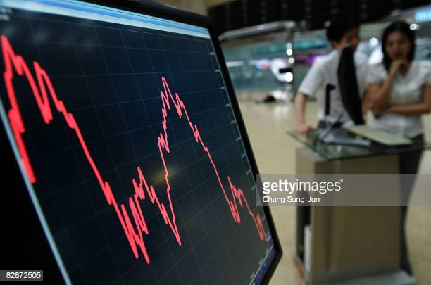 South Koreans looks at a board showing stock price index at a stock brokerage firm in Seoul September 16 2008 in Seoul South Korea The Korean stock...