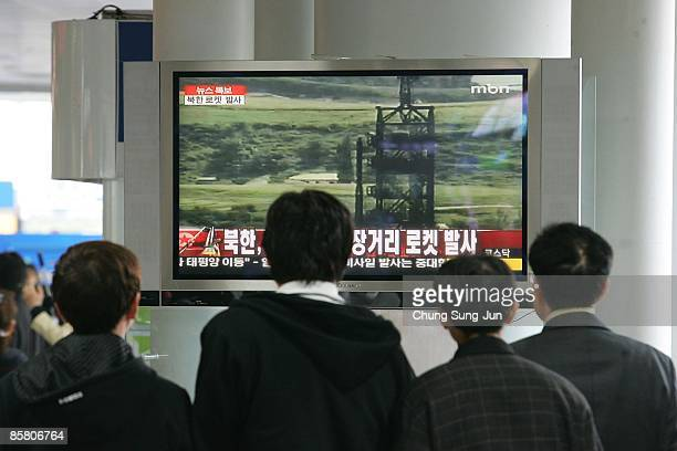 South Koreans watch news coverage of a North Korean rocket launch on April 5 in Seoul South Korea The first stage of the long range rocket fell into...