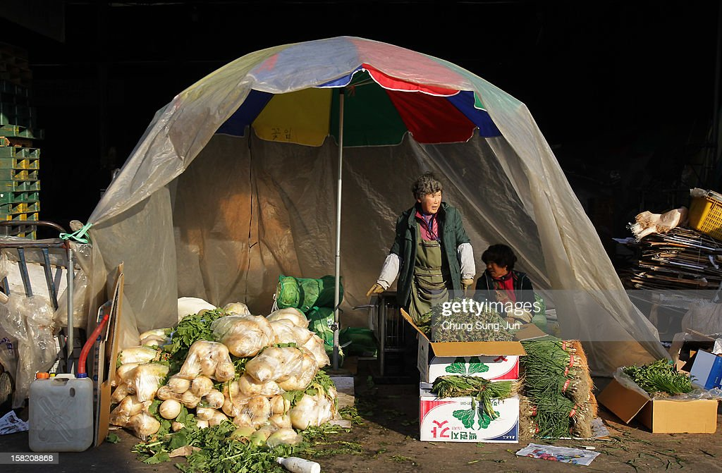 South Koreans work at a wholesale agricultural products market on December 11, 2012 in Seoul, South Korea. One of the main South Korean presidential election campaign issues is the economy, as the chaebol, South Korea's business conglomerate, dominates the country's wealth while the economic life of middle class people has not been improving.