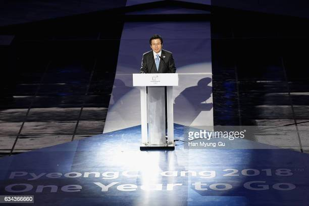 South Korea's acting President Hwang KyoAhn attends the PyeongChang 2018 One Year to Go Ceremony at Gangneung Hockey Center on February 9 2017 in...