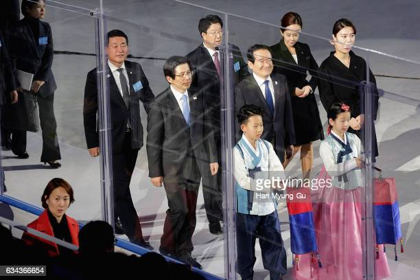 South Korea's acting President Hwang KyoAhn the PyeongChang 2018 One Year to Go Ceremony at Gangneung Hockey Center on February 9 2017 in Gangneung...
