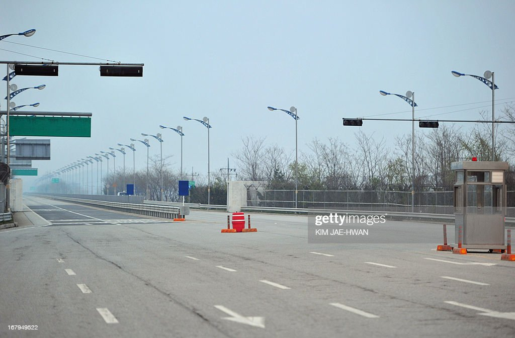 South Korea's border checkpoint in Paju sits emply and deserted on May 3, 2013 after the South withdrew its last remaining workers from the joint industrial zone in North Korea. The Kaesong Industrial Zone -- located 10 kilometres (six miles) north of the frontier -- was once a rare symbol of cross-border cooperation, but has fallen victim to the stand-off on the Korean Peninsula.