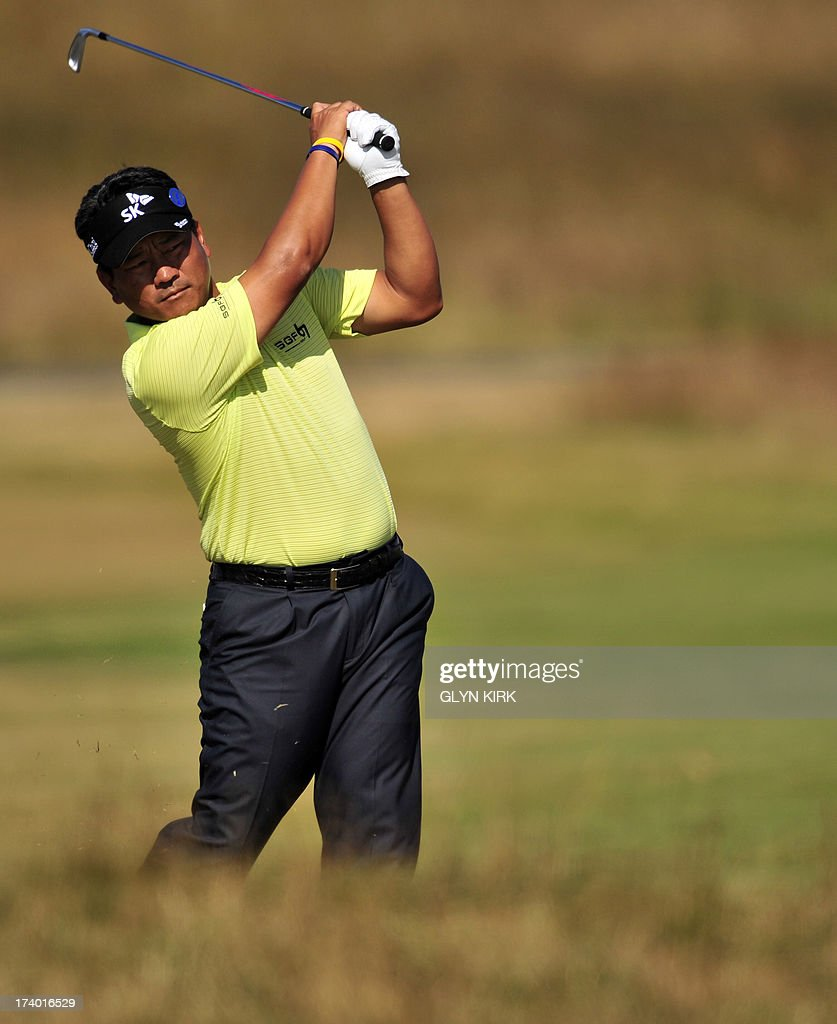 South Korea's Choi Kyung-Ju (AKA KJ Choi) plays a shot on the fifth fairway during the second round of the 2013 British Open Golf Championship at Muirfield golf course at Gullane in Scotland on July 19, 2013 .