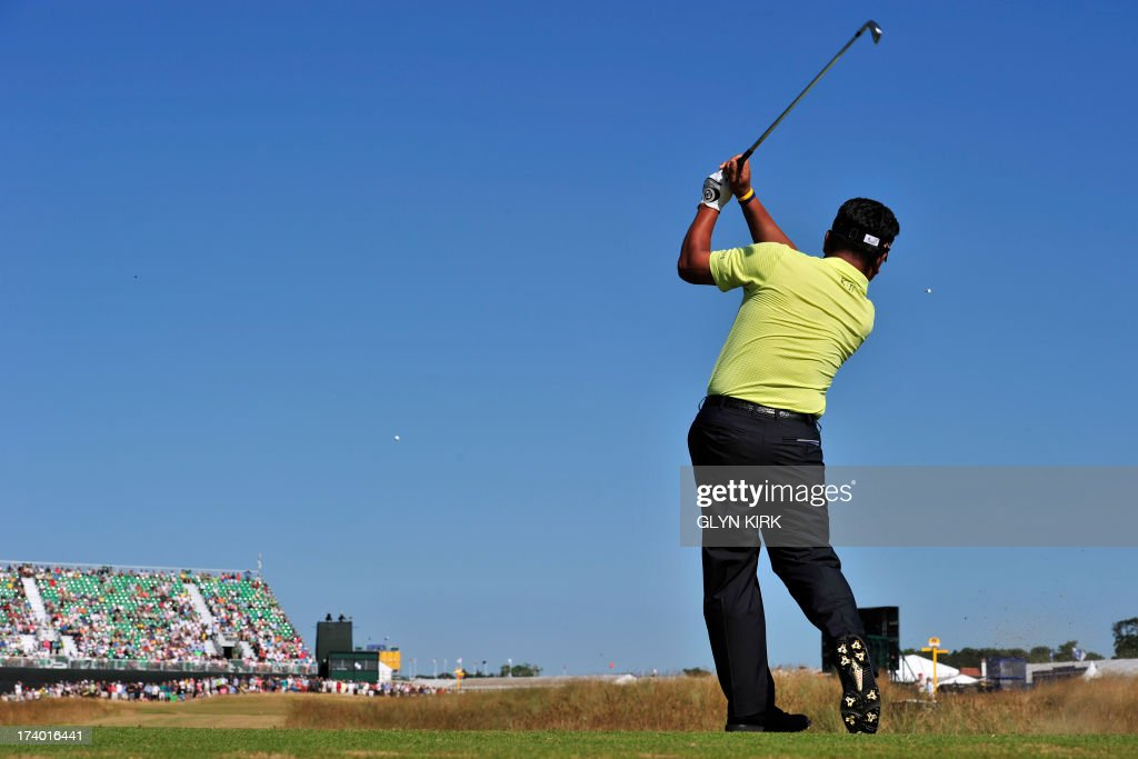 South Korea's Choi Kyung-Ju (AKA KJ Choi) plays the 16th tee during the second round of the 2013 British Open Golf Championship at Muirfield golf course at Gullane in Scotland on July 19, 2013 .
