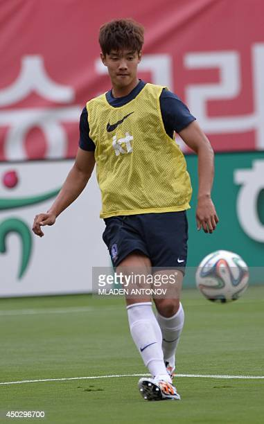 South Korea's defender Hong JeongHo kicks the ball during a training session at Miami Sun Life Stadium in Miami Gardens Florida on June 8 2014 AFP...
