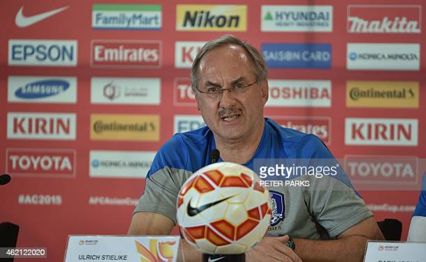 South Korea's football coach Ulrich Stielike from Germany attends a press conference before their AFC Asian Cup semifinal football match in Sydney on...