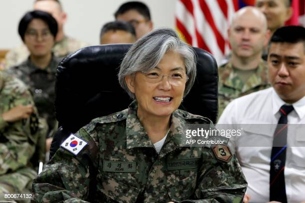 South Korea's Foreign Minister Kang KyungWha speaks as she visits the headquarters of the South KoreaUS Combined Division2nd Infantry Disivision at...