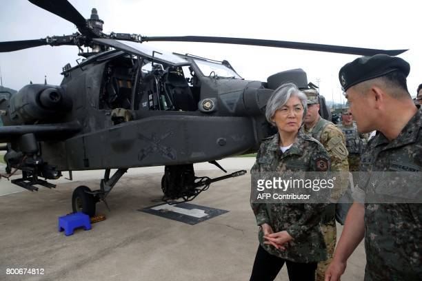 South Korea's Foreign Minister Kang KyungWha visits the headquarters of the South KoreaUS Combined Division2nd Infantry Division at the Camp Red...